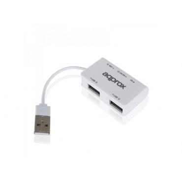 HUB USB 2.0 APPROX 3 PUERTOS NEGRO + LECTOR TARJET - Imagen 1