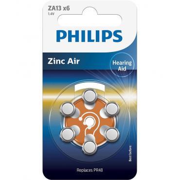 PILAS PHILIPS AUDIFONOS ZINC AIRE ZA13-PR48 PACK 6 - Imagen 1