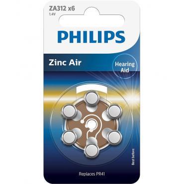 PILAS PHILIPS AUDIFONOS ZINC AIRE ZA312-PR41 PACK6 - Imagen 1